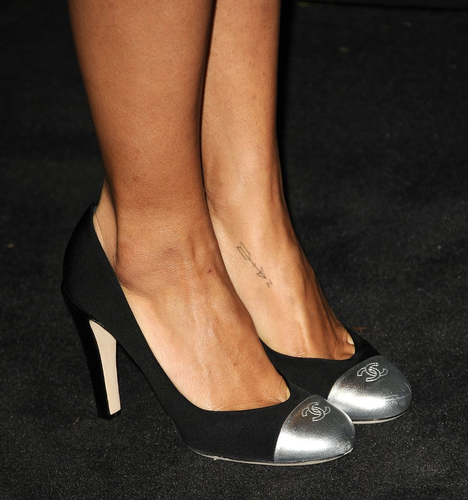 To finish, Zoe Kravitz donned the label's logo-infused cap-toe pumps.