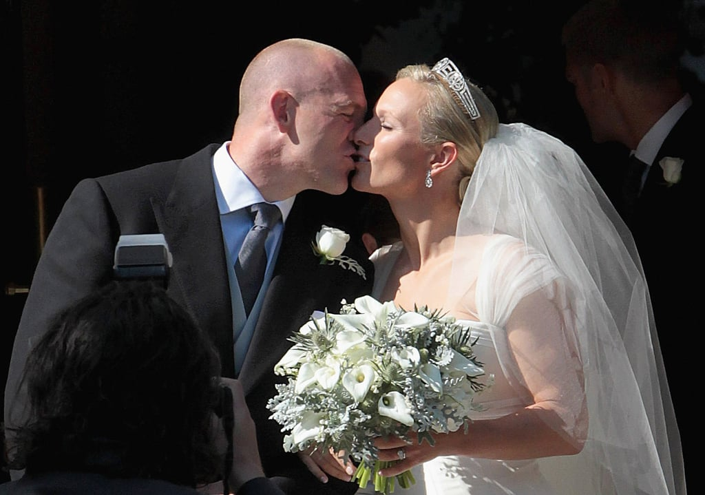 Zara and Mike shared a moment on their wedding day in Edinburgh later that year.