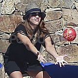 Jessica Alba played catch with Honor.