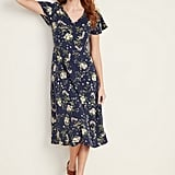 Fit & Flare V-Neck Midi Dress