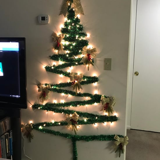 Mom's Wall Christmas Tree Hack For Small Spaces