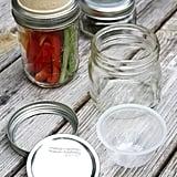 Veggies and Hummus in Mason Jars