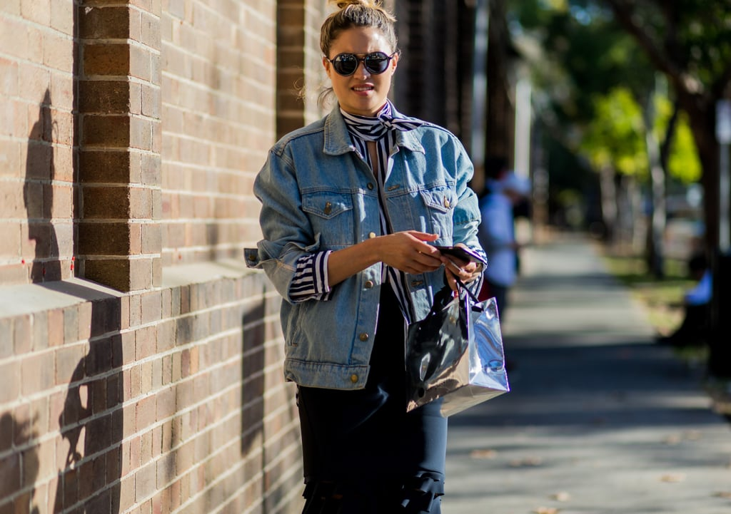 Know That Bold Stripes Really Pop Underneath a Denim Jacket