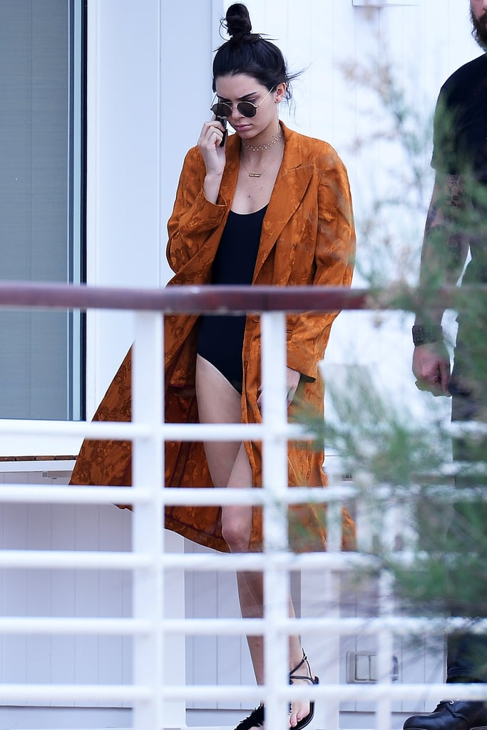 Kendall Jenner Wearing a Duster Over a Bathing Suit May 2016