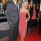 At the Safe Haven premiere in Toronto, Julianne chose a salmon-colored Zimmermann gown and Yves Saint Laurent pumps.