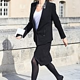 An easy skirt got a polished finish with a sleek blazer and pointed-toe lace-ups.