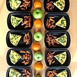 Egg white frittata with sweet potatoes and a side of fruit