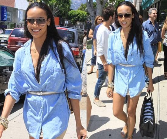Selita Ebanks Shopping in a Blue Shirtdress