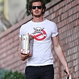 Andrew Garfield went book shopping in LA.