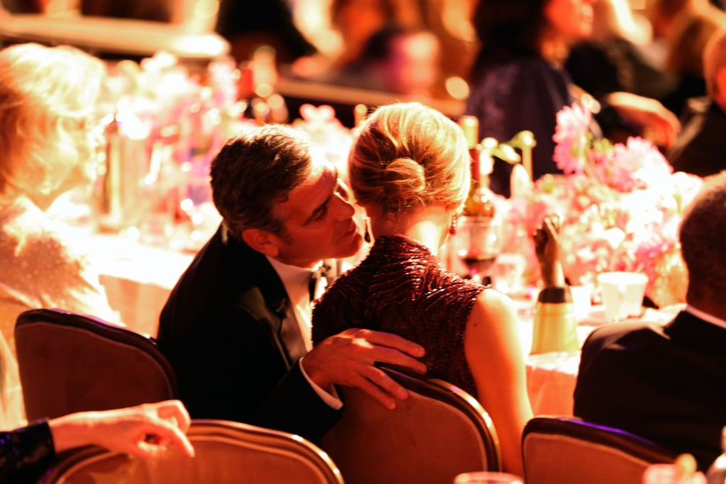 In October, George Clooney gave Stacy Keibler a kiss at the Carousel of Hope Ball in LA.