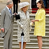 A pregnant Kate and her in-laws were all smiles while attending a reception in 2013.