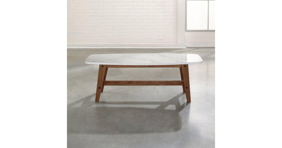 Sauder Soft Modern Coffee Table In Fine Walnut Finish