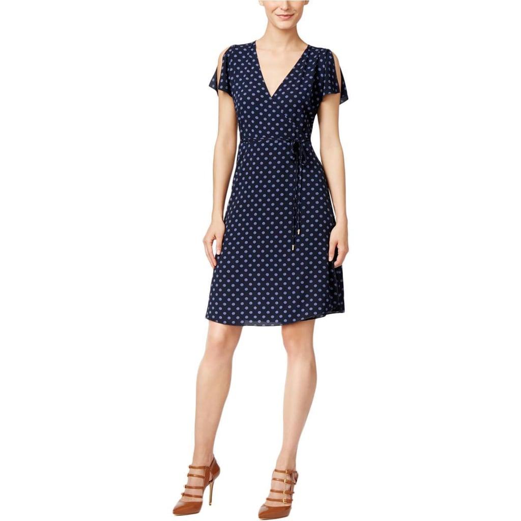 Michael Michael Kors Womens Crepe Printed Wrap Dress