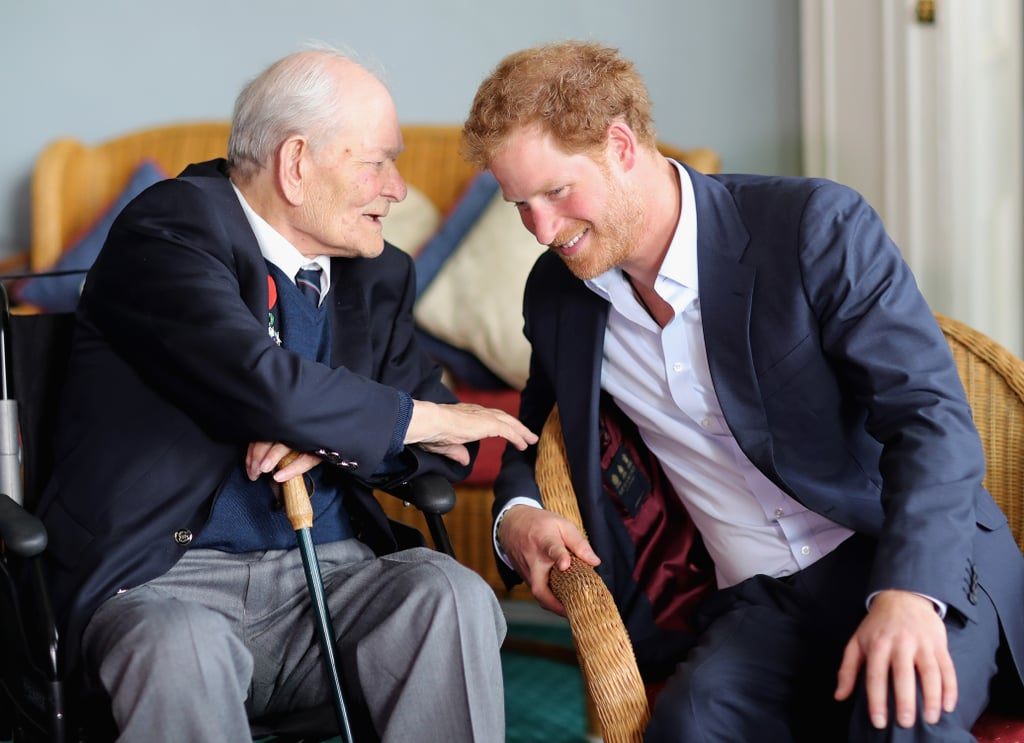 He bonded with Normandy veterans at a reception in England in June.