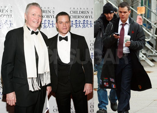 Photos of Matt Damon in NYC With Jon Voight; Filming The Adjustment Bureau