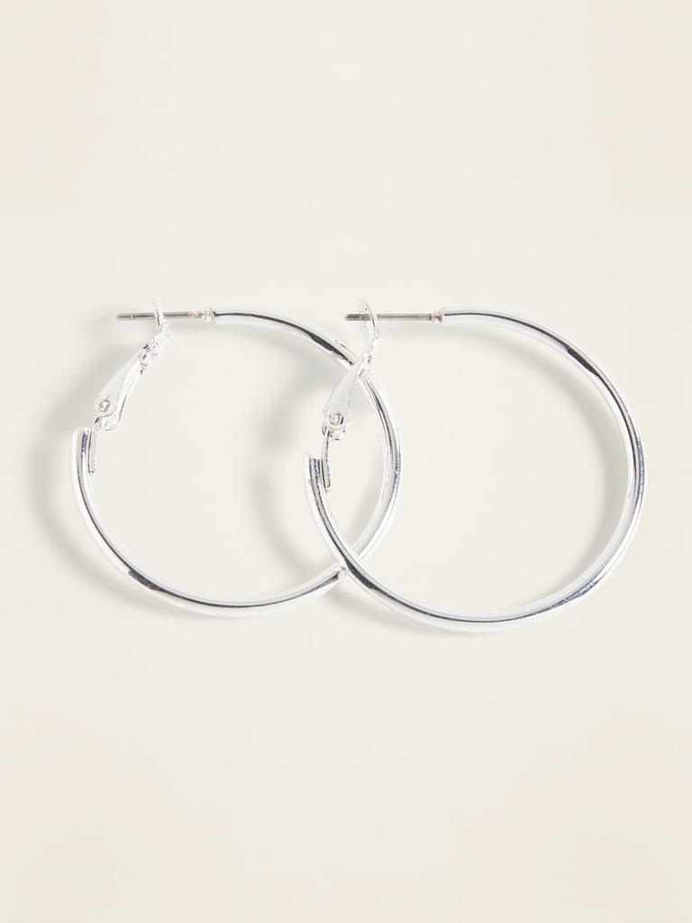 Silver-Toned Hoop Earrings