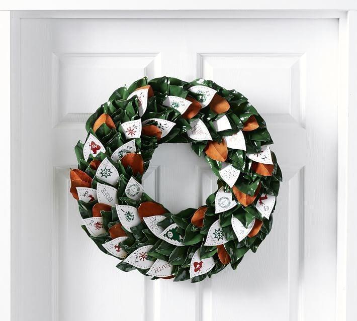 buy pottery barn live magnolia wreath advent calendar. Black Bedroom Furniture Sets. Home Design Ideas