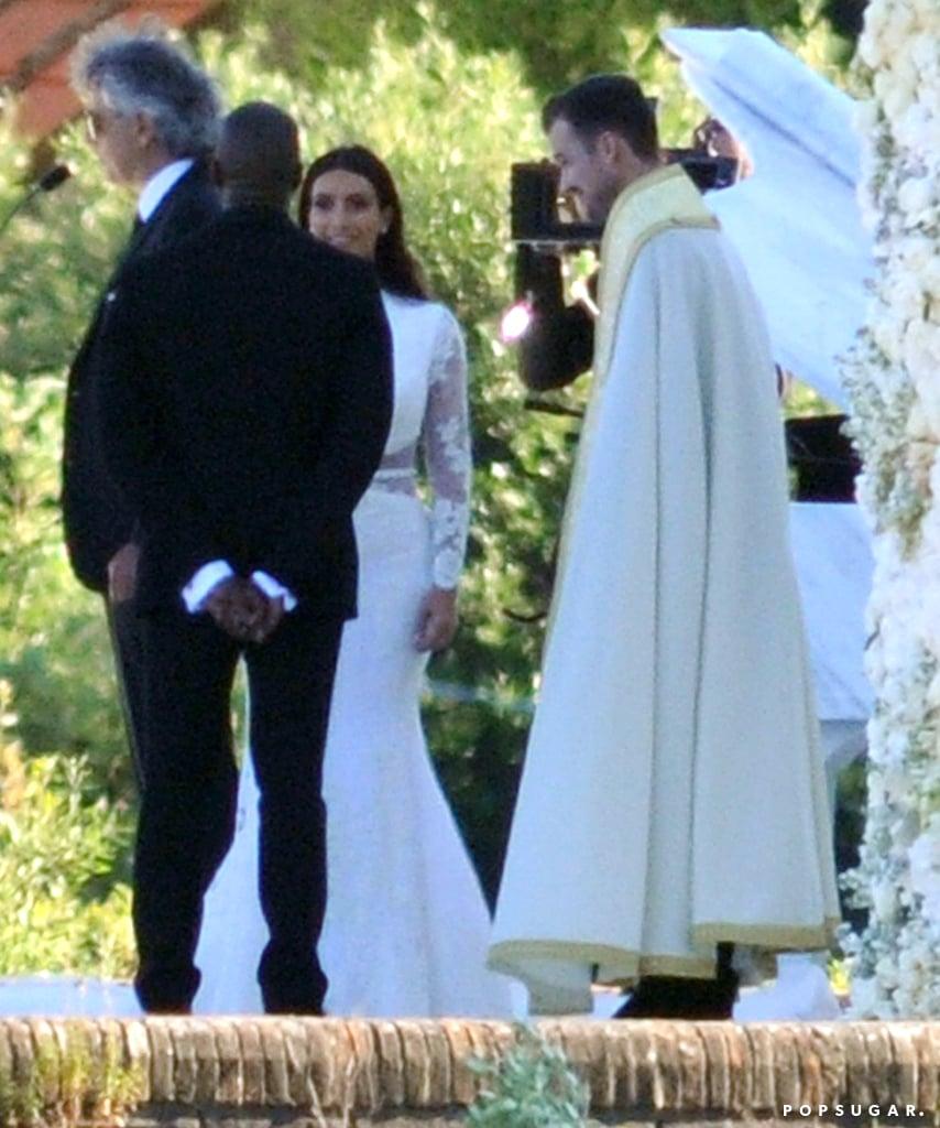 Kim and Kanye stood at the altar. | Kim Kardashian and Kanye West ...