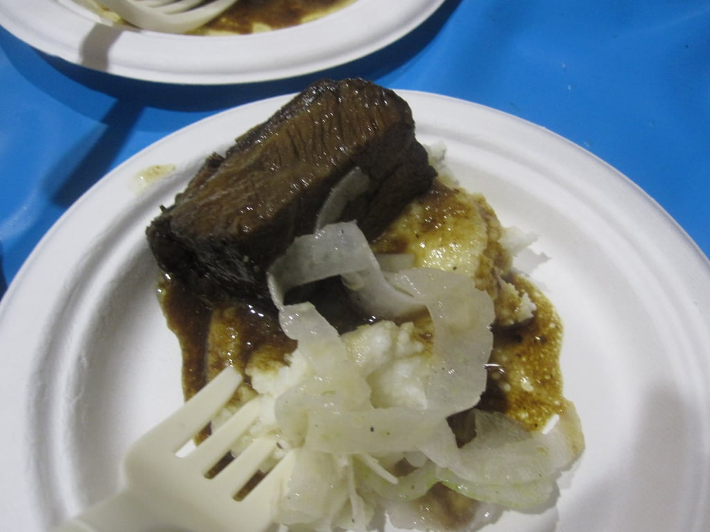 Short ribs on creamy polenta with pickled fennel. Only one word to describe it: yum!