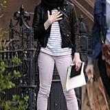 Michelle Williams wore pink pants.