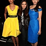 Camila Alves and Nina Dobrev flanked designer Monique Lhuillier.