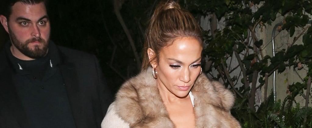 Jennifer Lopez's Fur-Collar Coat January 2017