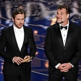 Pictured: Ryan Gosling and Russell Crowe