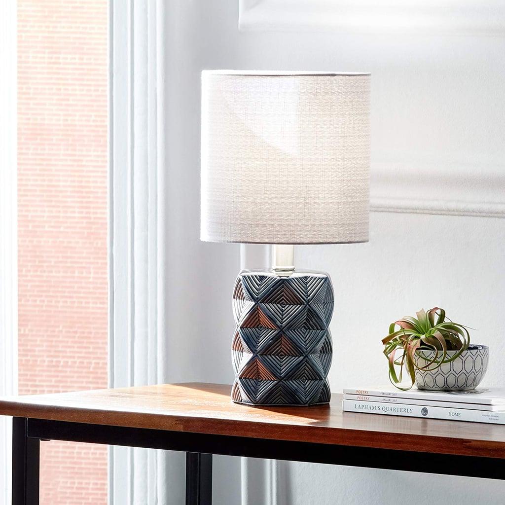 Rivet Geo Modern Black Ceramic Living Room Table Desk Lamp