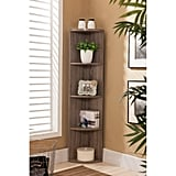 Dax Gray Wood Contemporary Corner Shelf