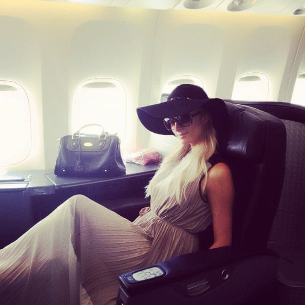 Paris Hilton posed on a plane. Source: Instagram user parishilton