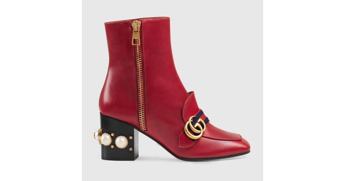 eeb6bf5b0907 Gucci Leather Mid-Heel Ankle Boot