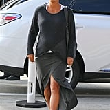 Halle Berry covered her baby bump in a black sweater in LA.