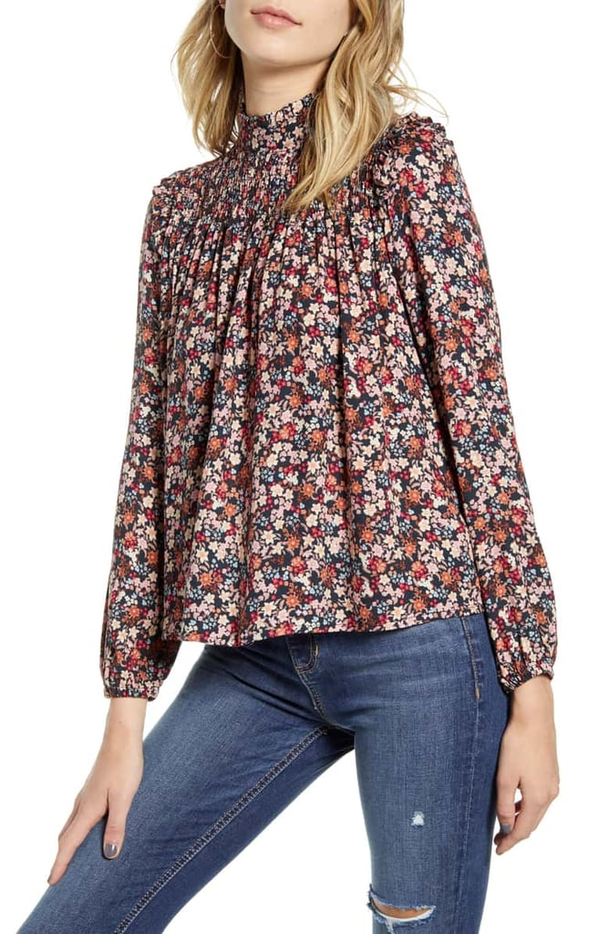 One Clothing Floral Print Smocked Top