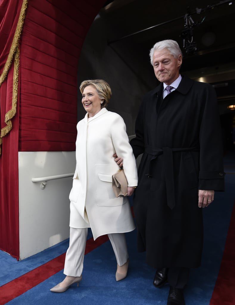 Hillary Clinton Arrived in Washington  DC in a White Pantsuit Set
