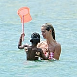 Heidi Klum with her son at the beach.
