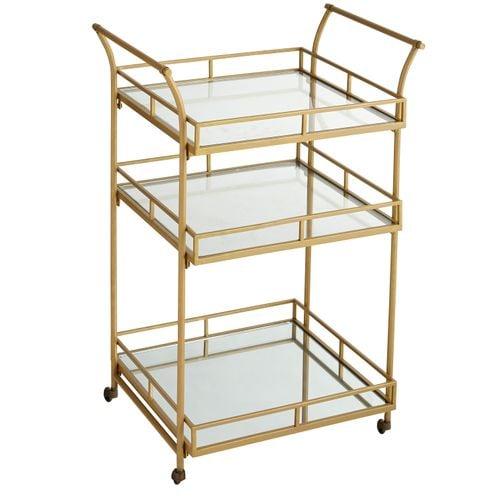 Gold Square Bar Cart