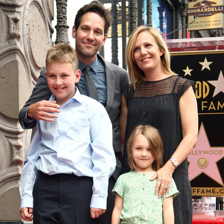 paul rudd with his family on the hollywood walk of fame popsugar