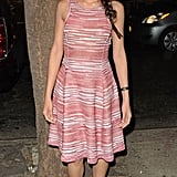 Freida wore this semisheer Missoni knit halter dress, along with her textured black Roger Vivier flats, to both a screening of Trishna and to the taping of Late Night With Jimmy Fallon.