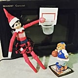 Elfie is shooting some hoops.