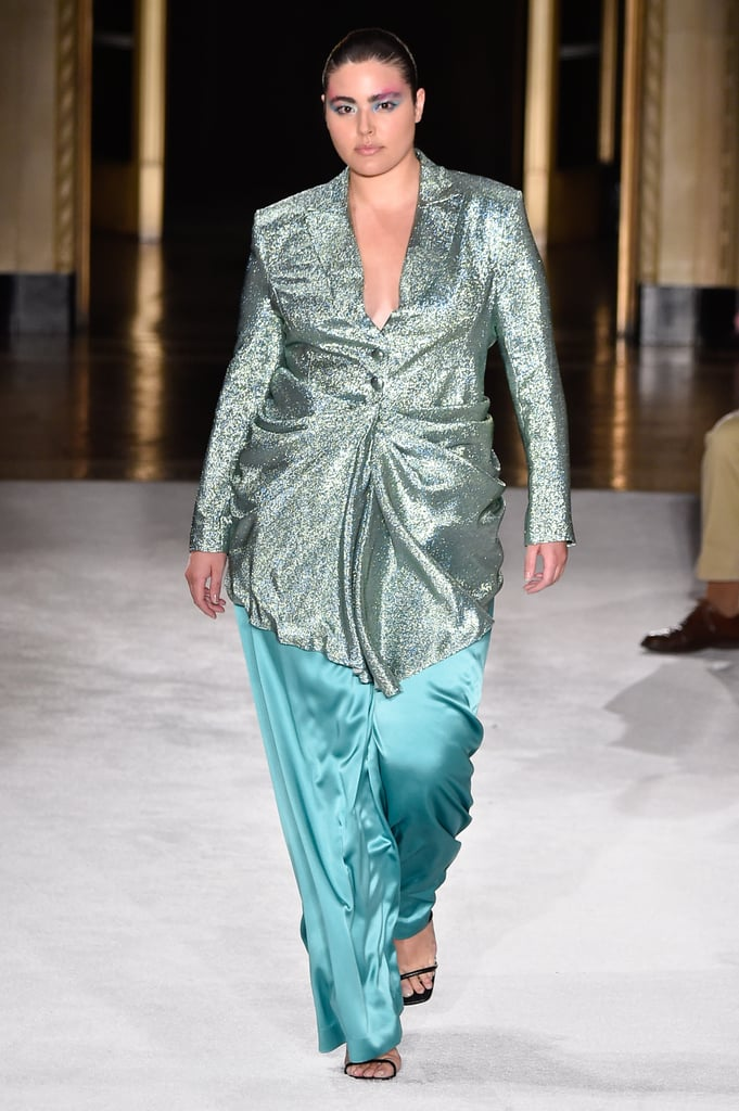 A Metallic Minidress Over Pants on the Christian Siriano Runway During New York Fashion Week