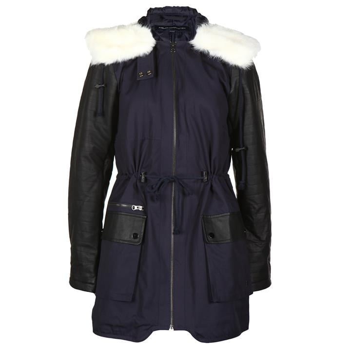 French Connection Faux Leather Sleeve Parka