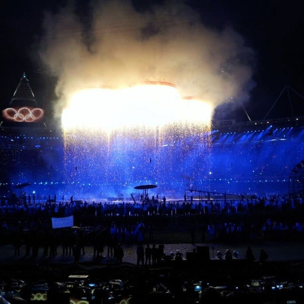 Olympic Stadium lit up London's sky during the opening ceremonies. Source: Instagram user usatoday