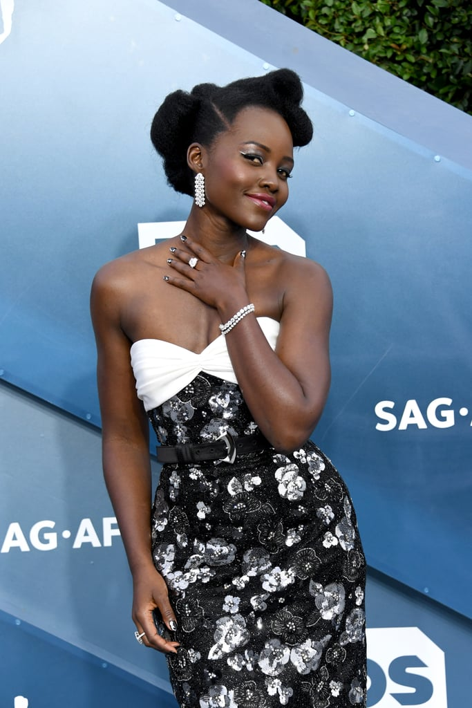Lupita Nyong'o's Black and Silver Manicure at the 2020 SAG Awards