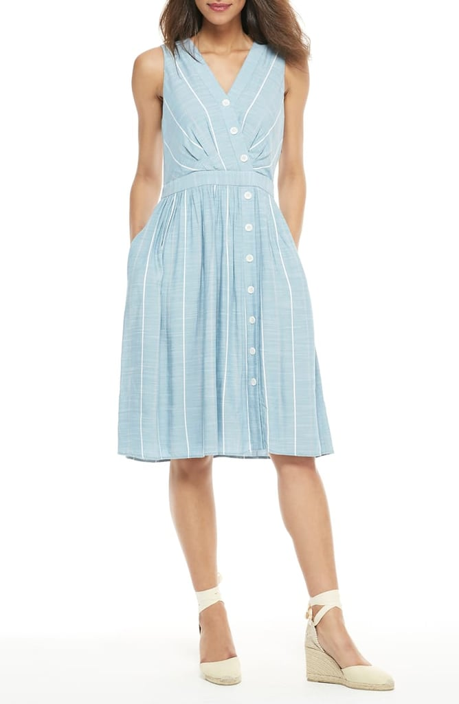 Gal Meets Glam Collection Jill Button Front Surplice A-Line Dress