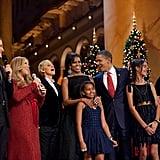 President Obama sang Christmas carols with Ellen DeGeneres, Mariah Carey, and Glee's Matthew Morrison in Washington DC in December 2010. Source: Flickr user The White House