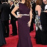 Maya Rudolph struck a pose in a purple Johanna Johnson gown.