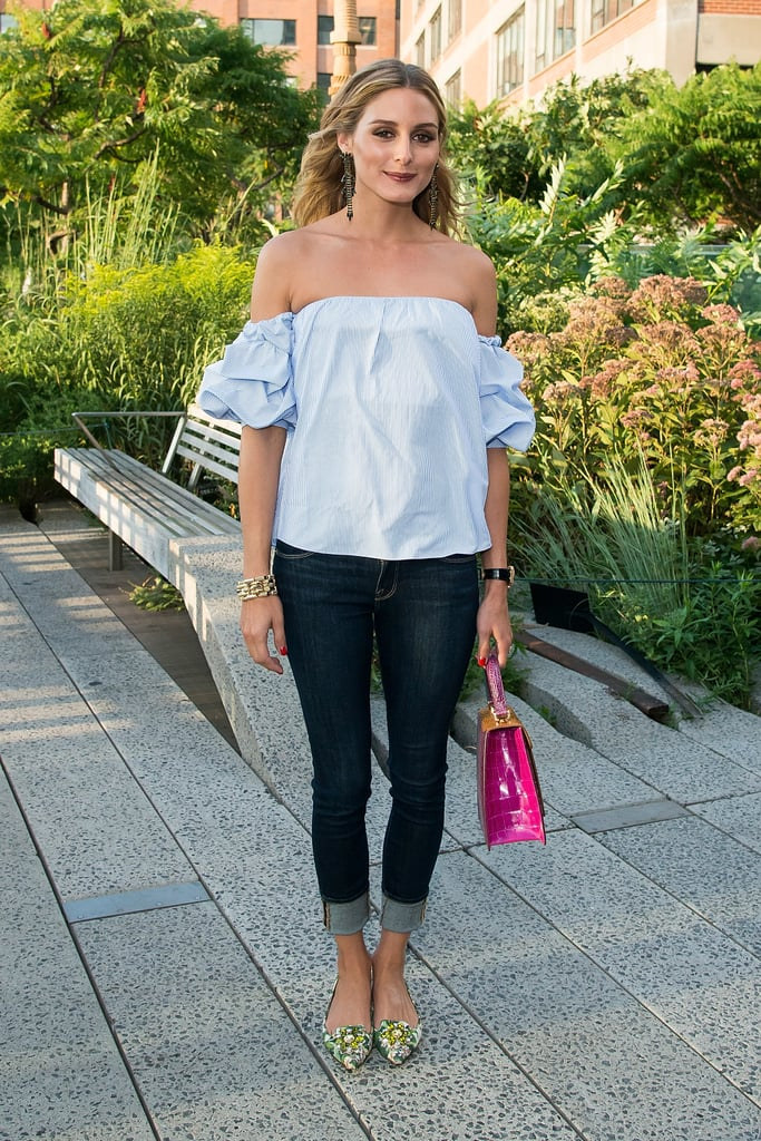 An Off-the-Shoulder Top With Cuffed Jeans