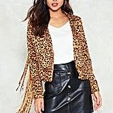 Nasty Gal Leopard Moto Jacket