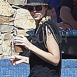 Jessica Alba stayed shaded in Cabo.