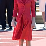 Kate's Catherine Walker coat dress came complete with a matching red shift underneath. Kate properly finished her outfit with a maple-leaf brooch, a gift from Queen Elizabeth II, and she slipped into her L.K. Bennett shoes yet again.